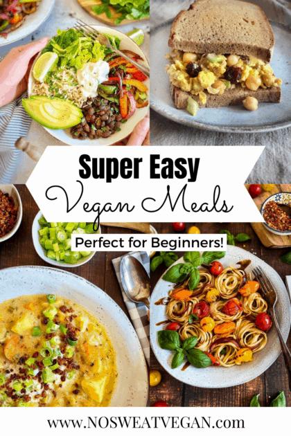 Easy vegan meals pin.