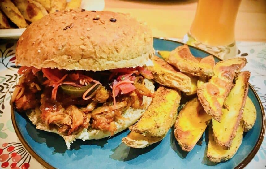 easy bbq jackfruit sandwich with a side of oven fries