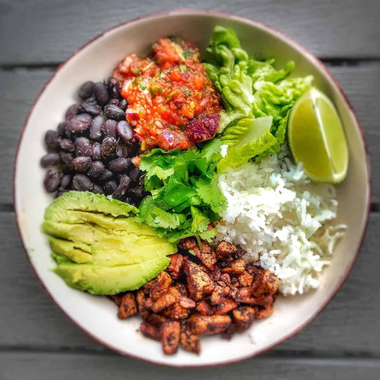 Vegan burrito bowl with easy homemade salsa.