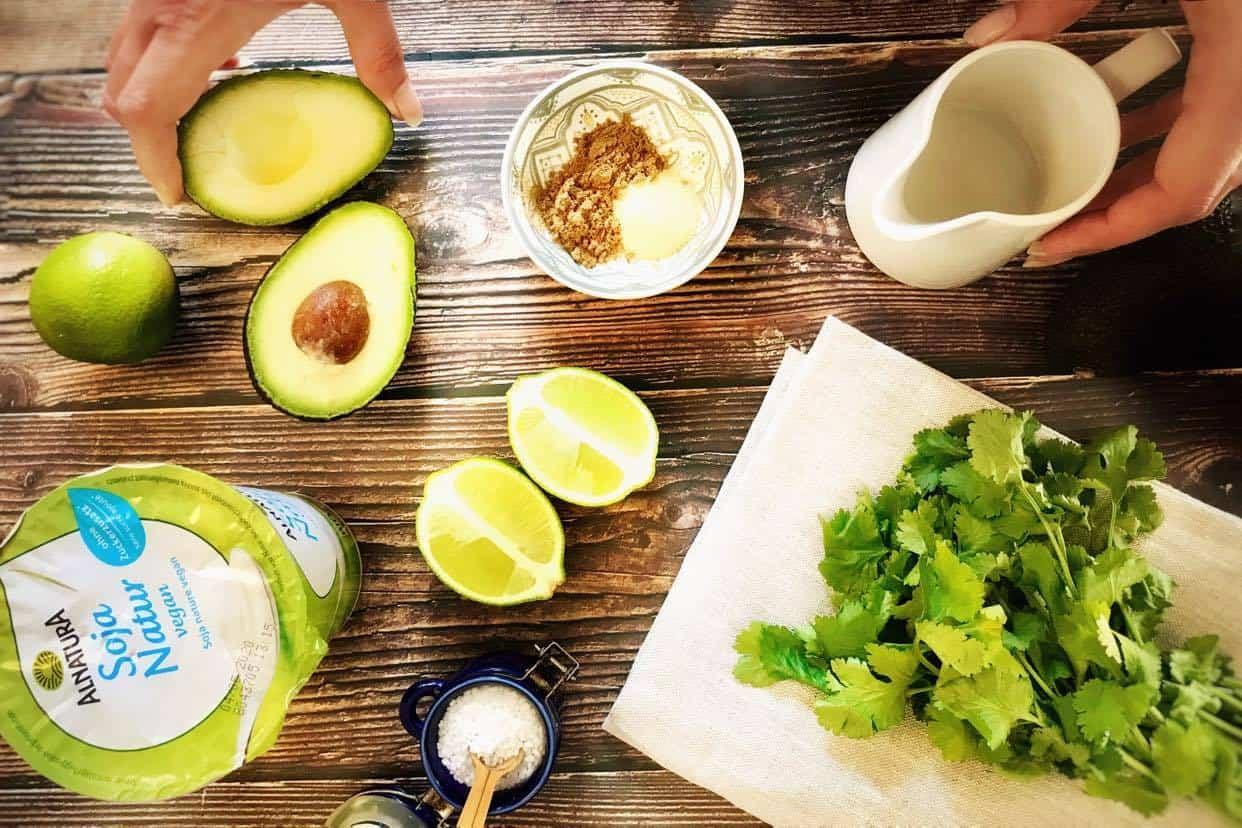 Ingredients for avocado vegan dressing.