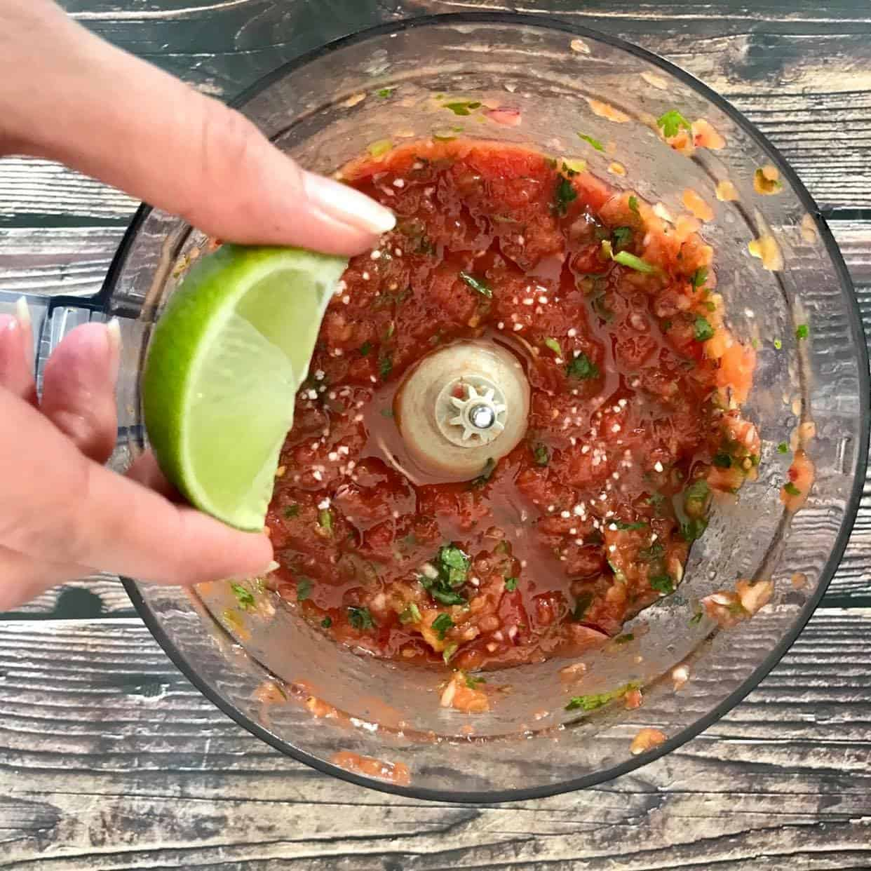 Restaurant Style Salsa blended with a hand squeezing lime juice over the top.
