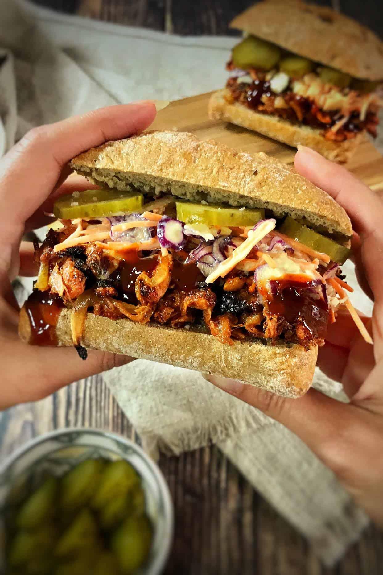 Vegan BBQ Pulled Jackfruit Sandwich