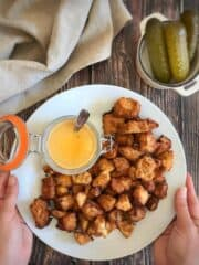 Chick-fil-A style tofu nuggets with vegan honey mustard dipping sauce