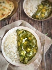 vegan palak paneer with tofu