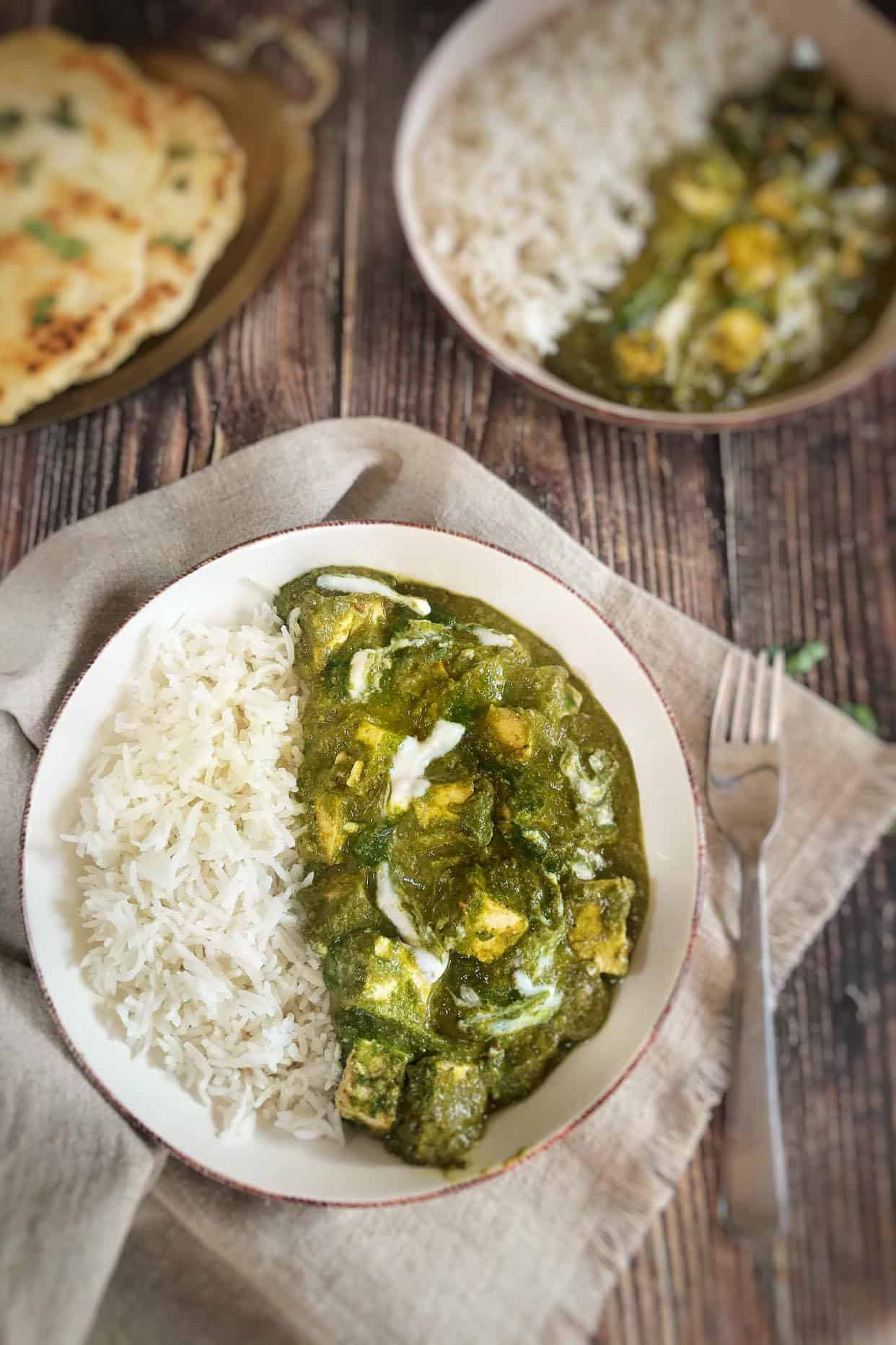 Easy Vegan Spinach Paneer with rice