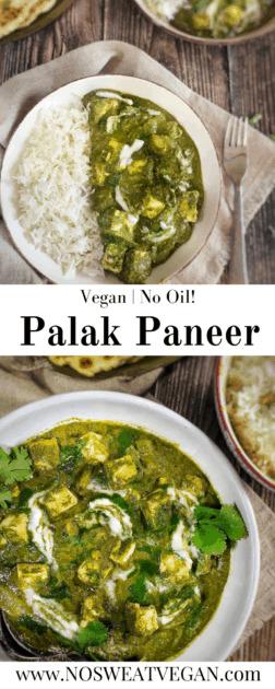 vegan palak paneer with tofu