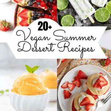 Collage photo of vegan summer dessert recipes