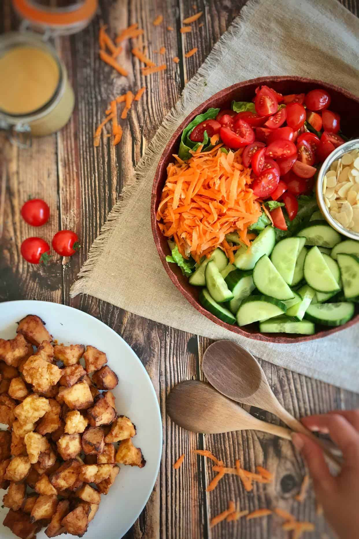 Hearty Country Salad with Tofu Nuggets & Vegan Honey Mustard Dressing