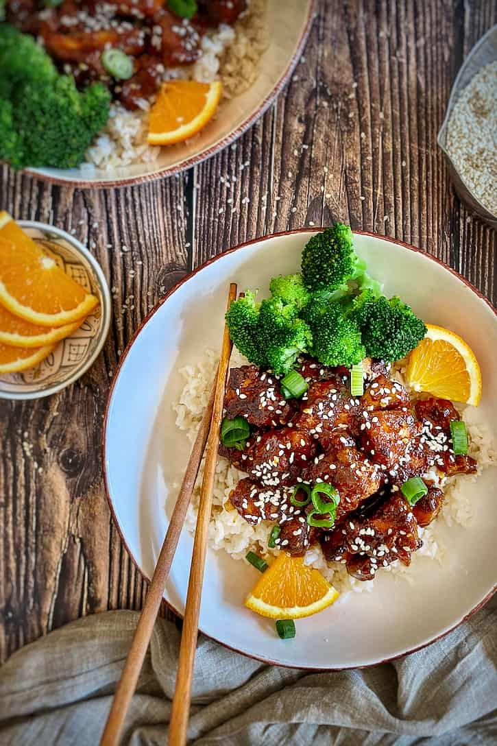 Sticky Orange Tofu ( aka Vegan Orange Chicken) with broccoli and brown rice.