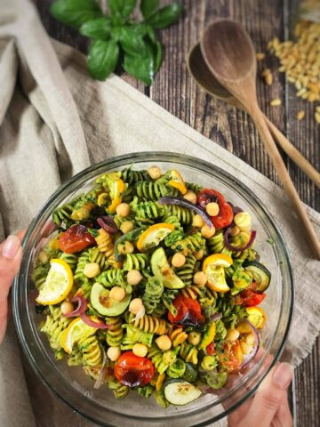 Vegan Pesto Pasta Salad with Roasted Veggies and Chickpeas (Oil-Free!)