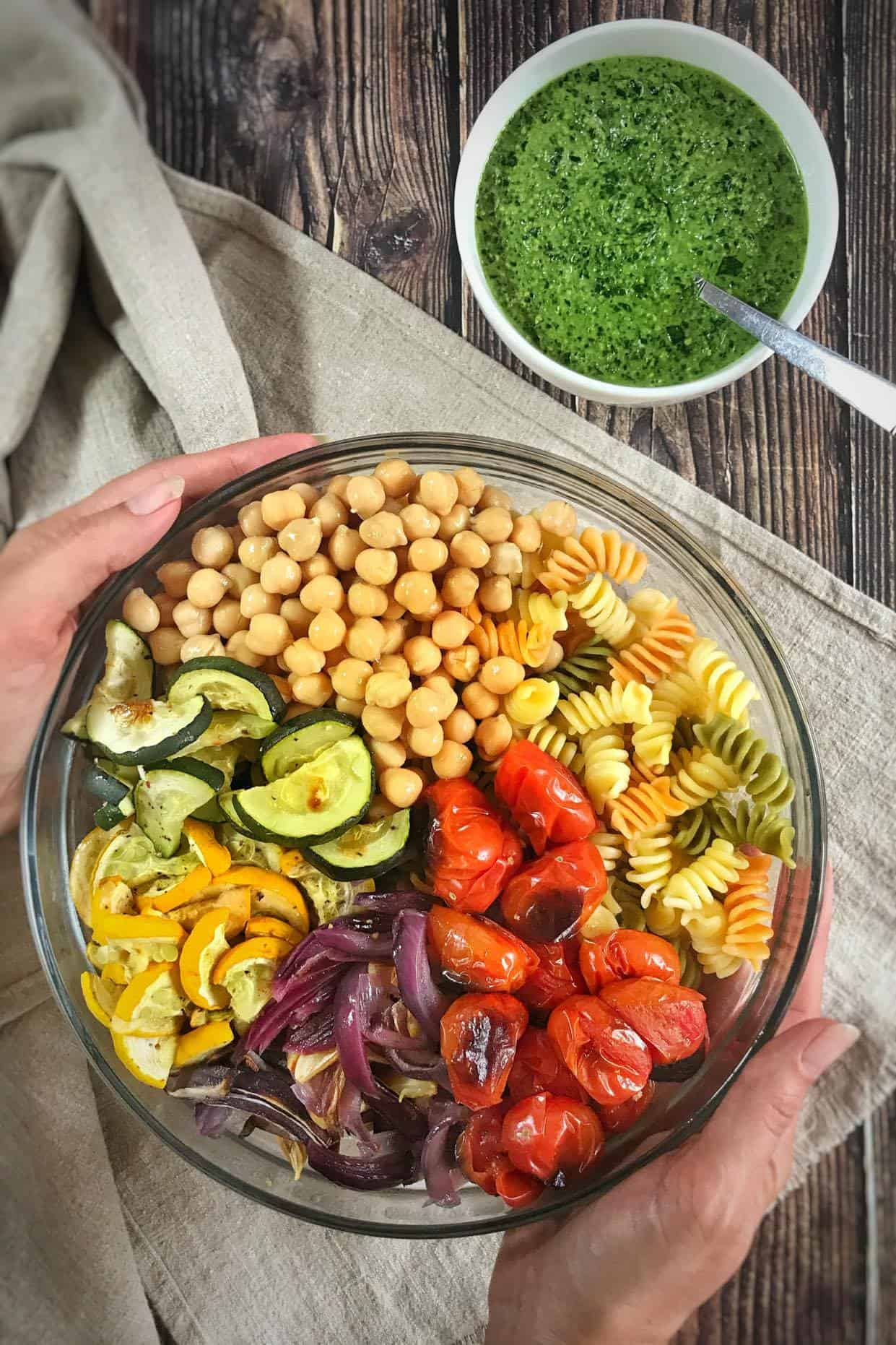 Vegan Pesto Pasta Salad with Roasted Veggies and Chickpeas (Oil-Free!)