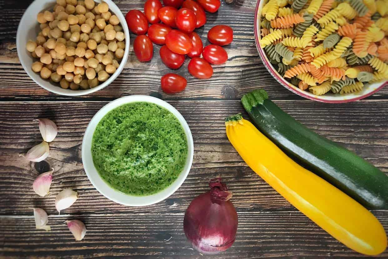 ingredients for vegan pesto pasta salad