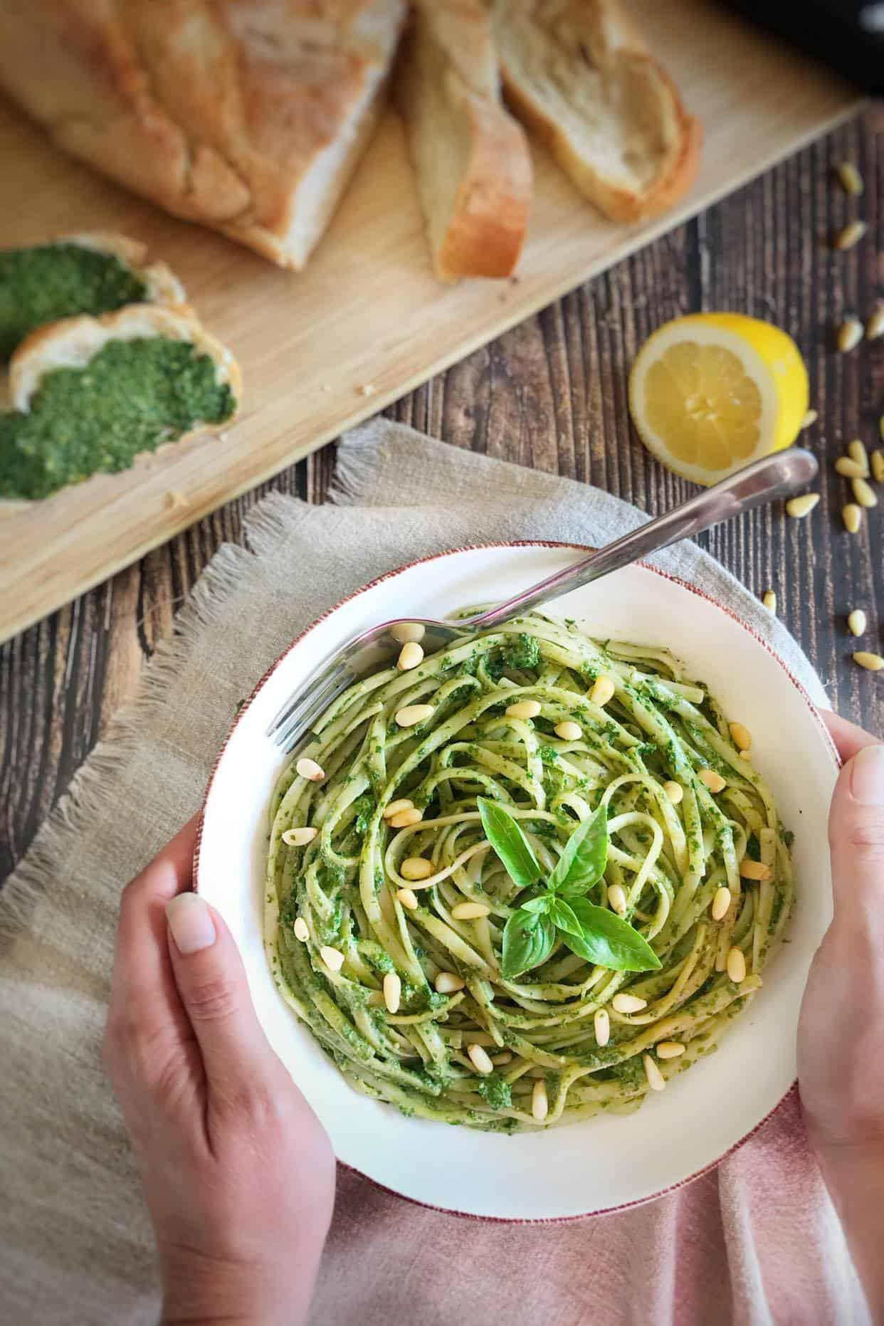 Low fat vegan basil pesto on linguine.