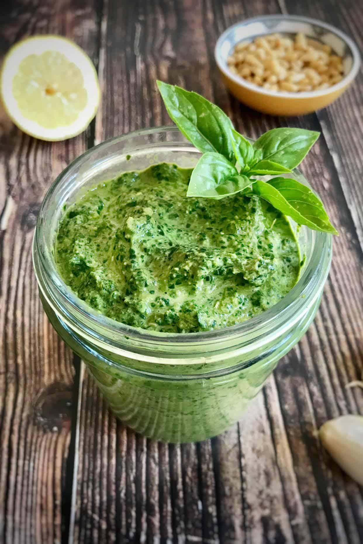 Jar of homemade vegan oil-free pesto.