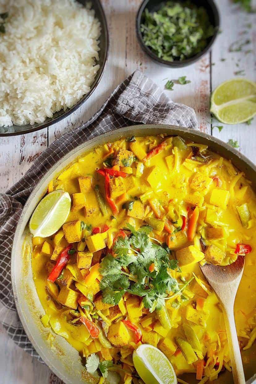 Vegan Thai curry in skillet.