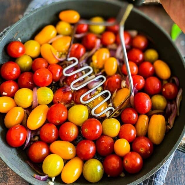 Burst Cherry Tomatoes for Vegan Pasta