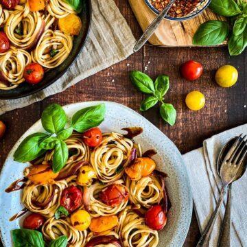Cherry Tomato & Basil Pasta (Vegan & Oil-Free)