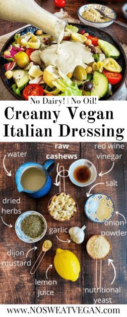 Creamy vegan Italian dressing (Oil-Free)