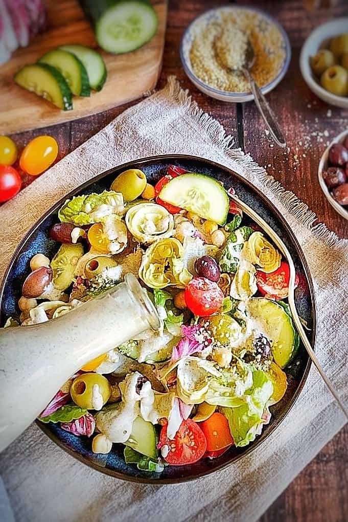 Oil Free dressing on vegan Italian Salad