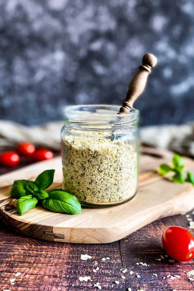 Vegan Parmesan Cheese Substitute made with hemp hearts