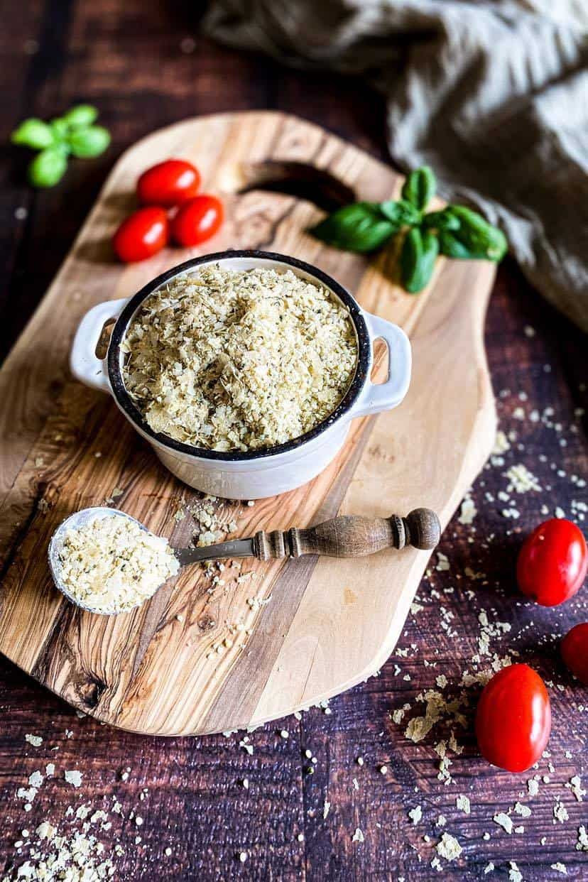 Vegan Parmesan Cheese Substitute made with hemp hearts (no nuts)