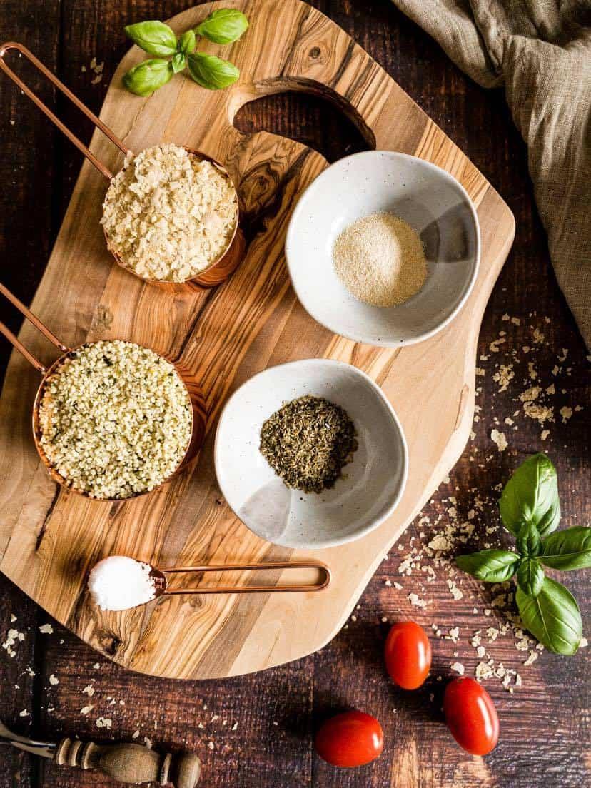 Ingredients to make vegan parmesan cheese