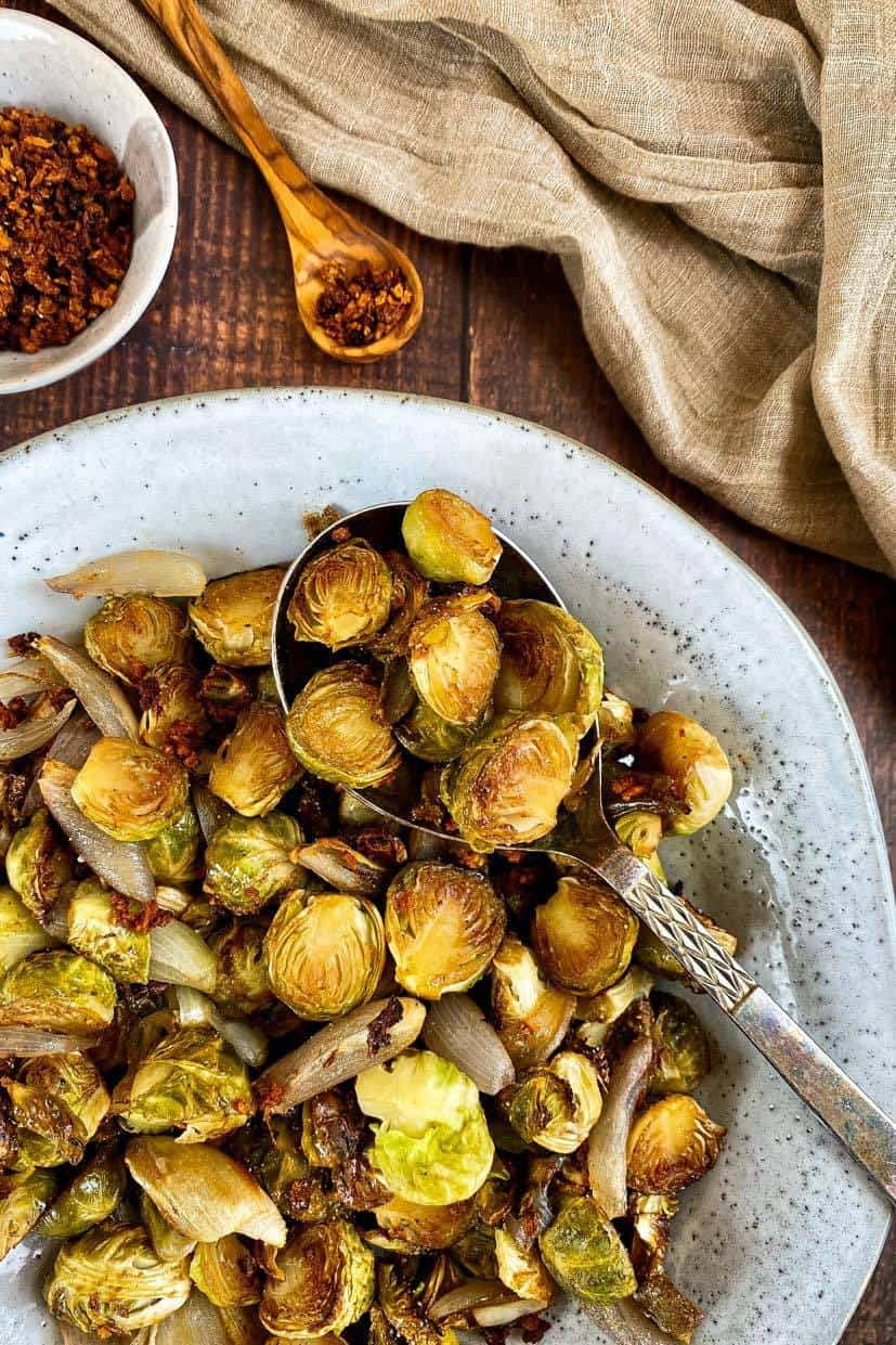 maple balsamic roasted sprouts with vegan bacon bits