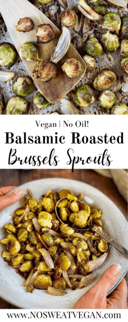 Maple Balsamic roasted Brussels sprouts pin