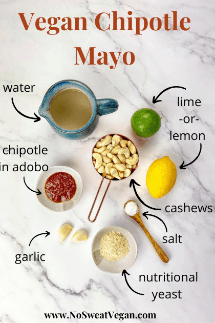 ingredients for cashew mayo with chipotle