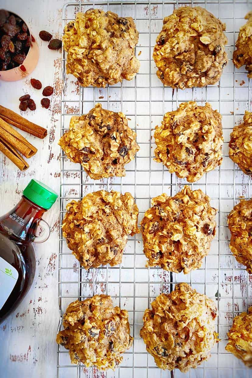 plant-based oatmeal raisin cookies