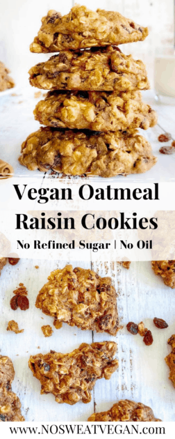 Vegan Oatmeal Raisin Cookies pin