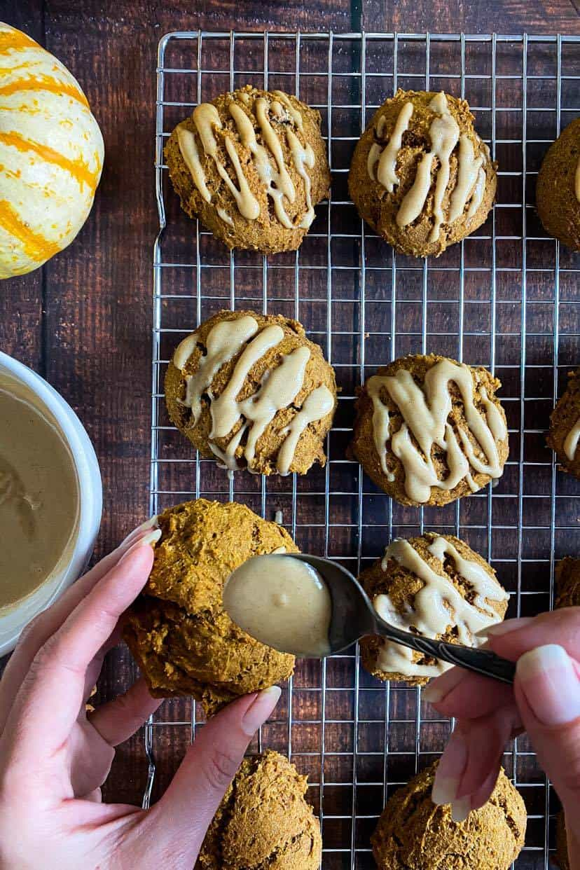Drizzle the cashew maple glaze over the healthy pumpkin cookies.