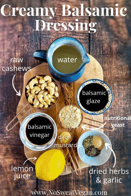 ingredients to make Creamy Balsamic Dressing