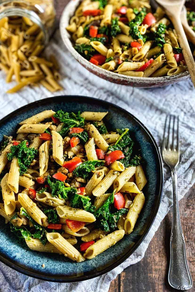 easy vegan pasta (penne with kale and vegan Italian sausage)