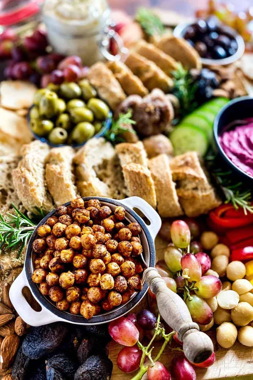 vegetarian charcuterie board with roasted chickpeas