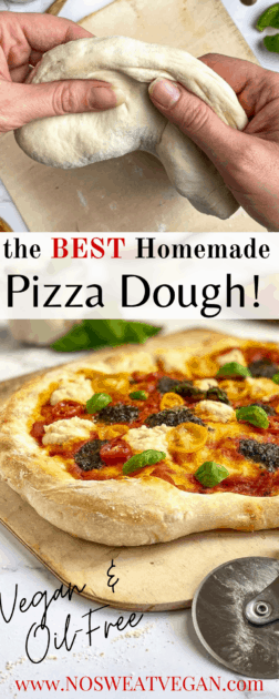 oil-free vegan pizza dough pin