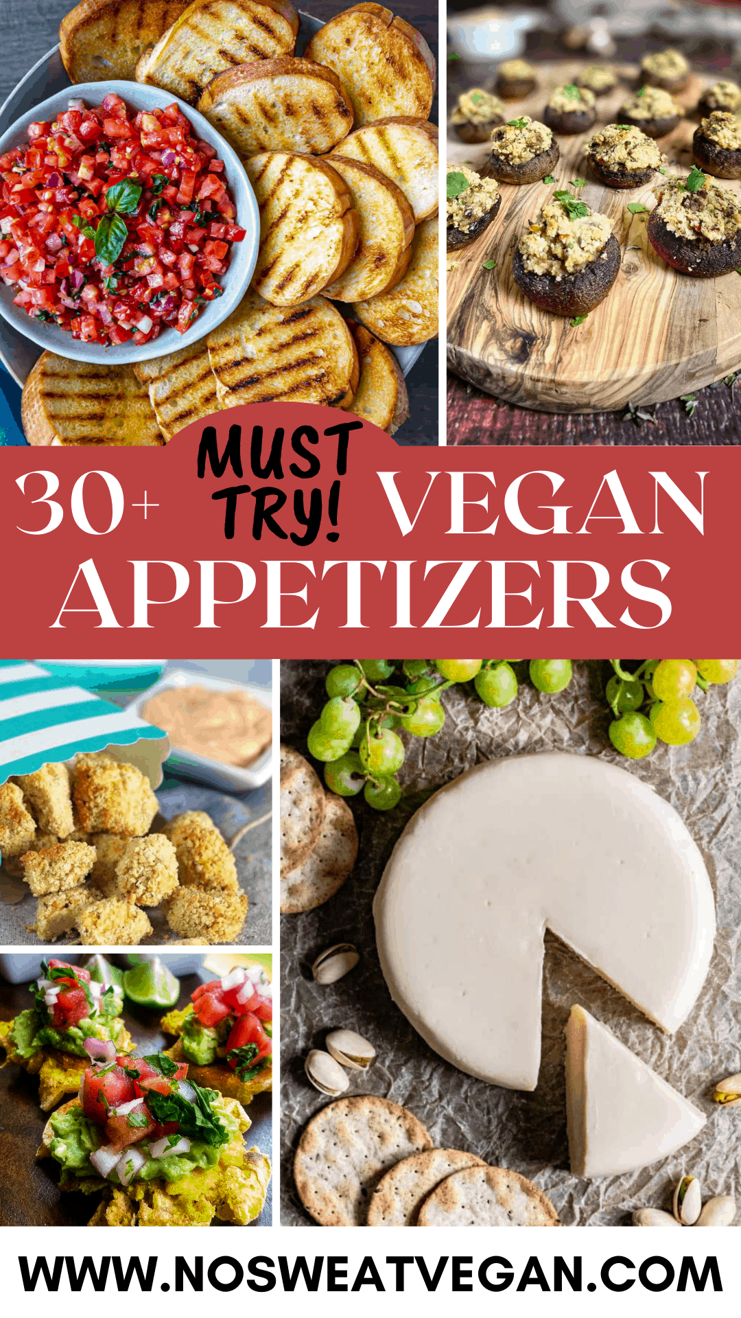 collection of appetizers vegan pin