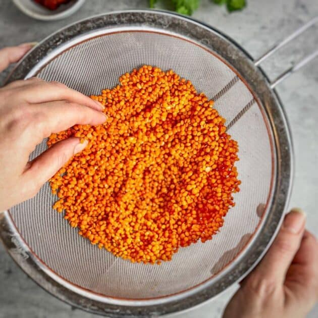 rinse and check the red lentils
