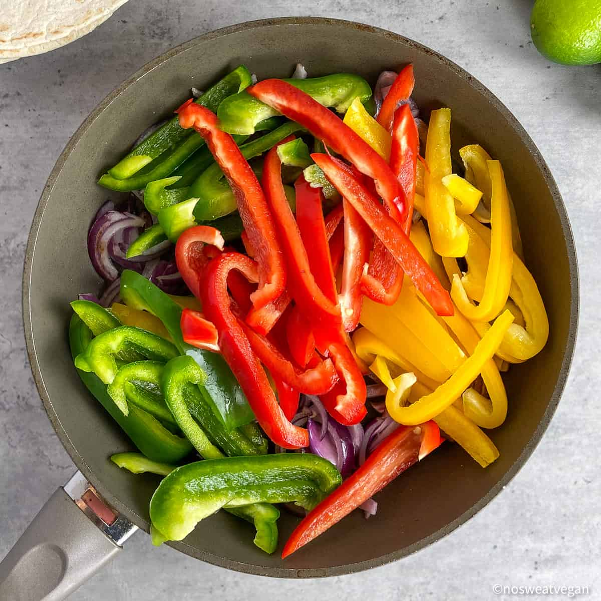 fajita veggies in skillet
