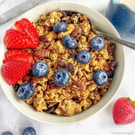 vegan granola with fruit