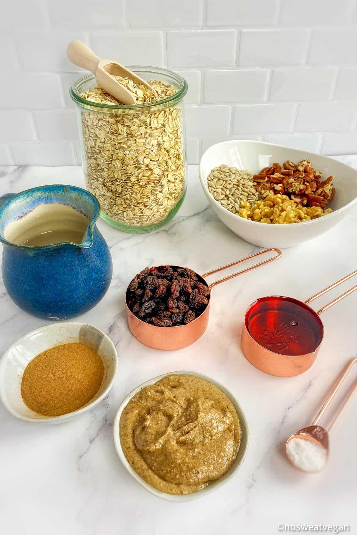 simple ingredients for quick vegan granola