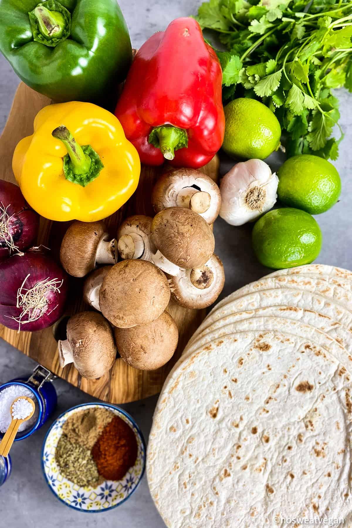ingredients for vegetable fajitas