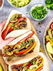 vegan vegetable and mushroom fajitas