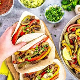 vegan vegetable and mushroom fajitas