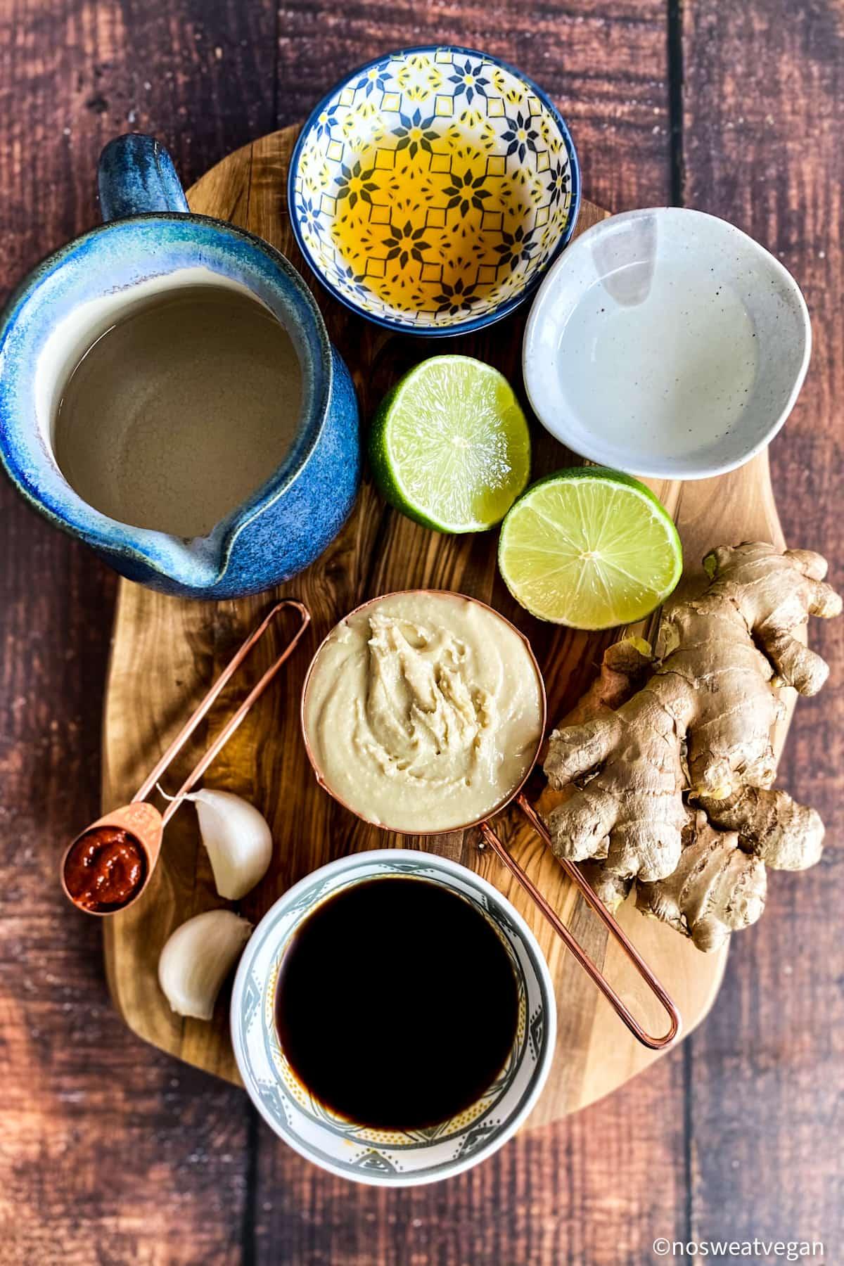Ingredients to make Ginger Cashew Asian Salad Dressing.