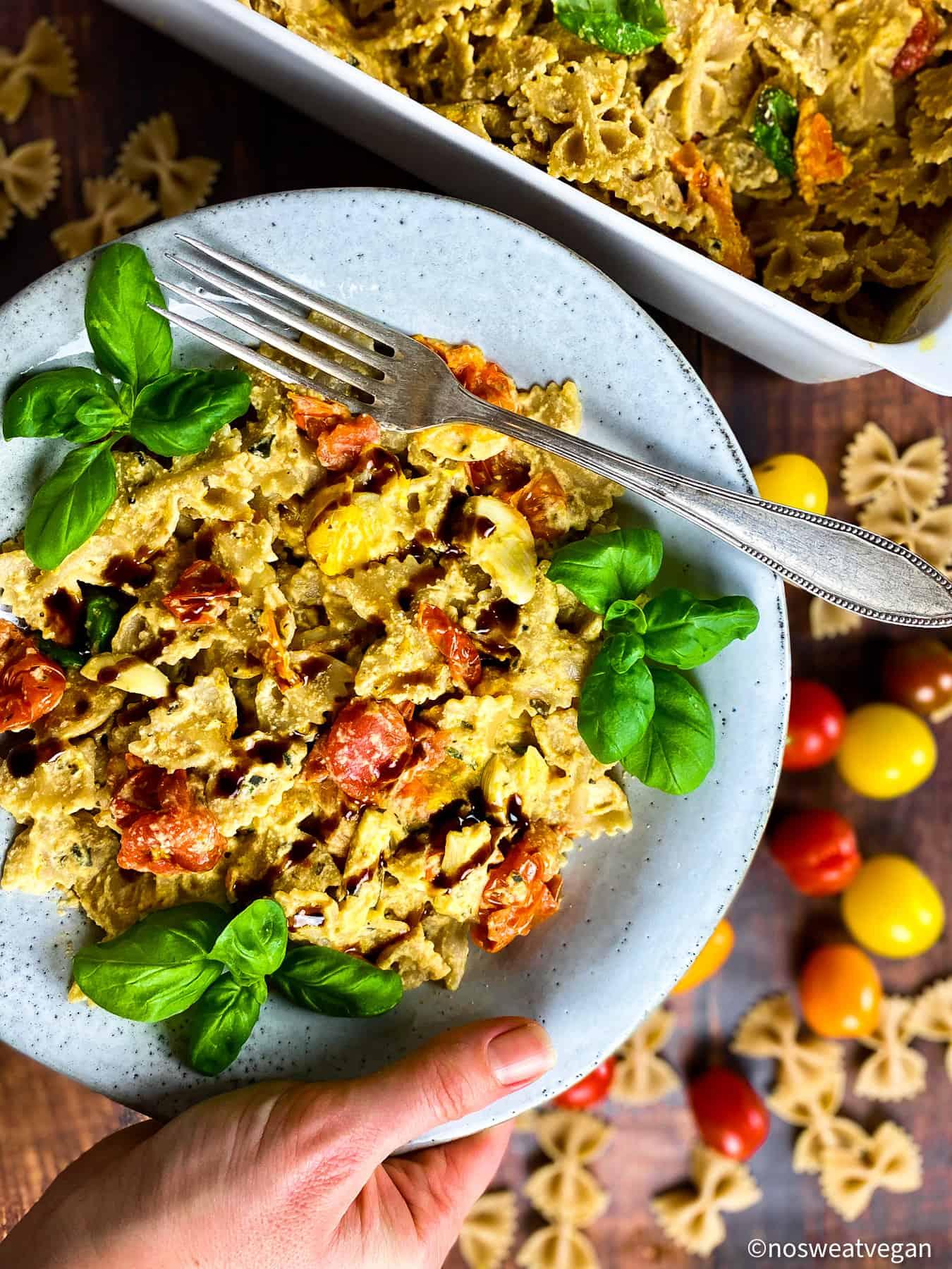 Vegan baked feta pasta in a bowl.