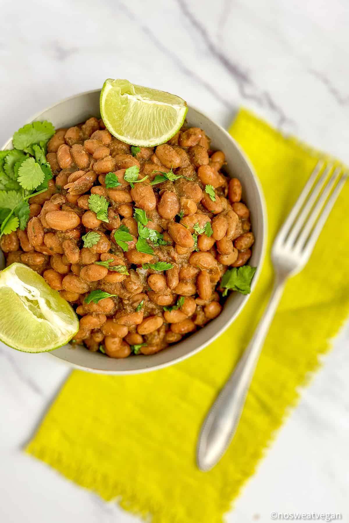 easy homemade pinto beans with cilantro