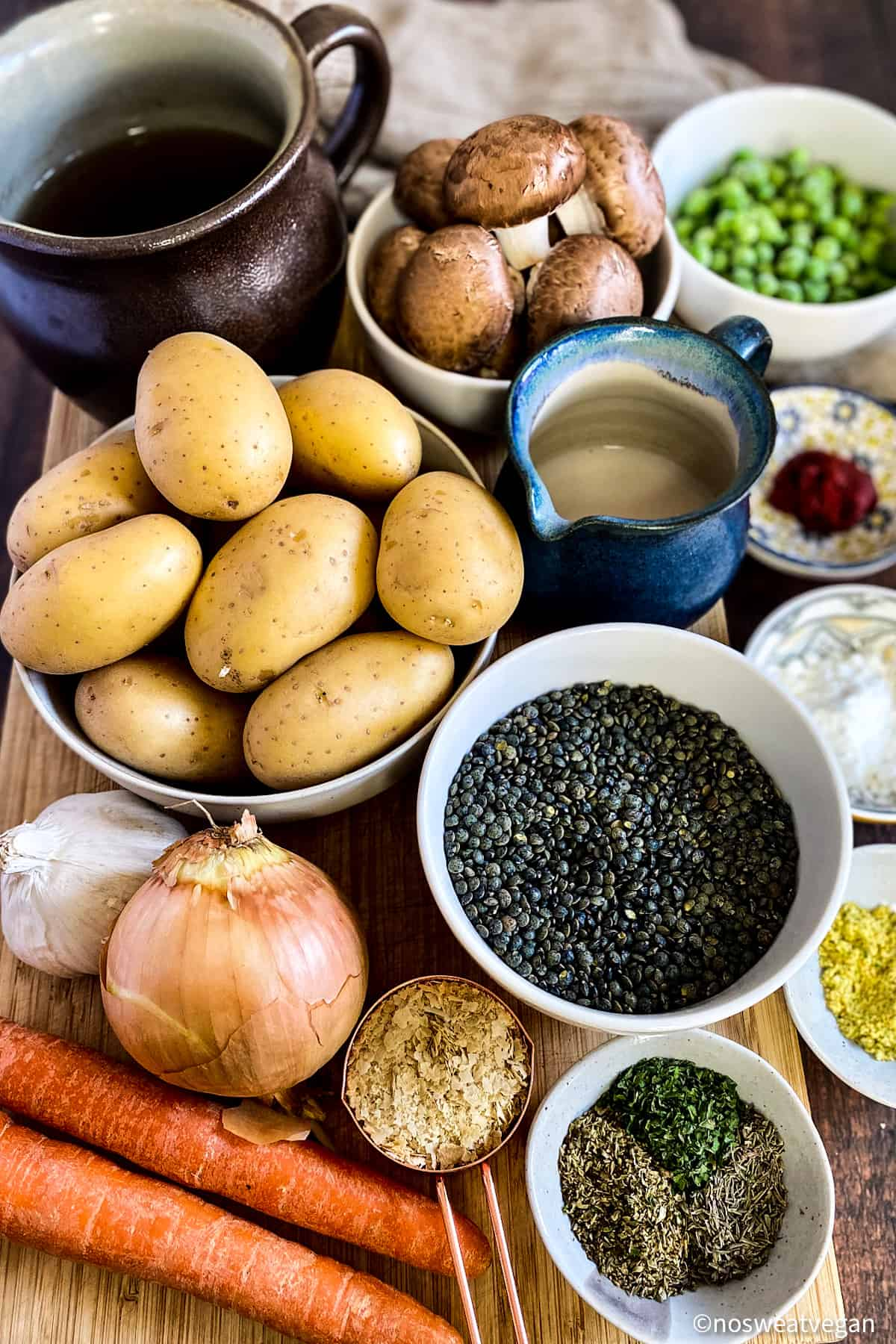 The ingredients for lentil shepherd's pie.