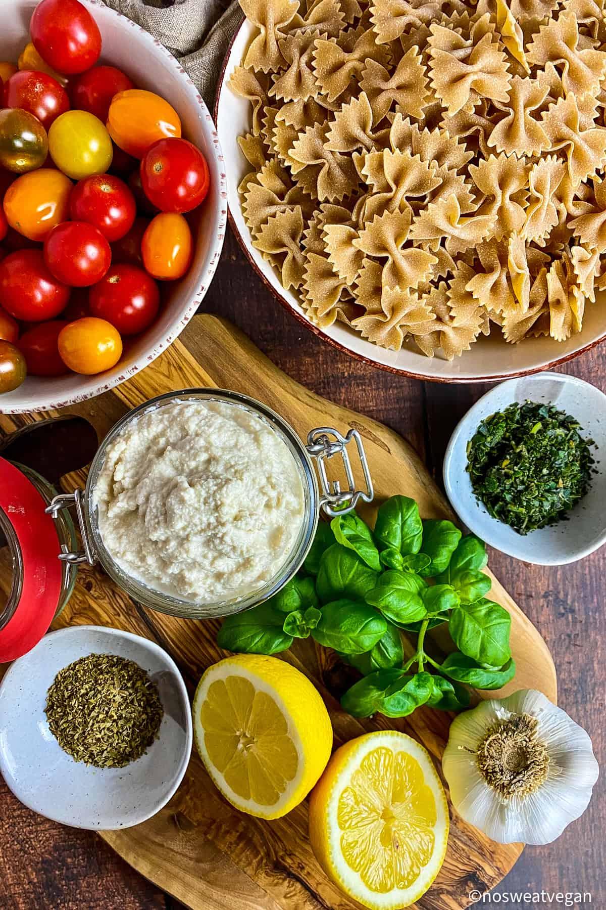 Ingredients to make the vegan baked