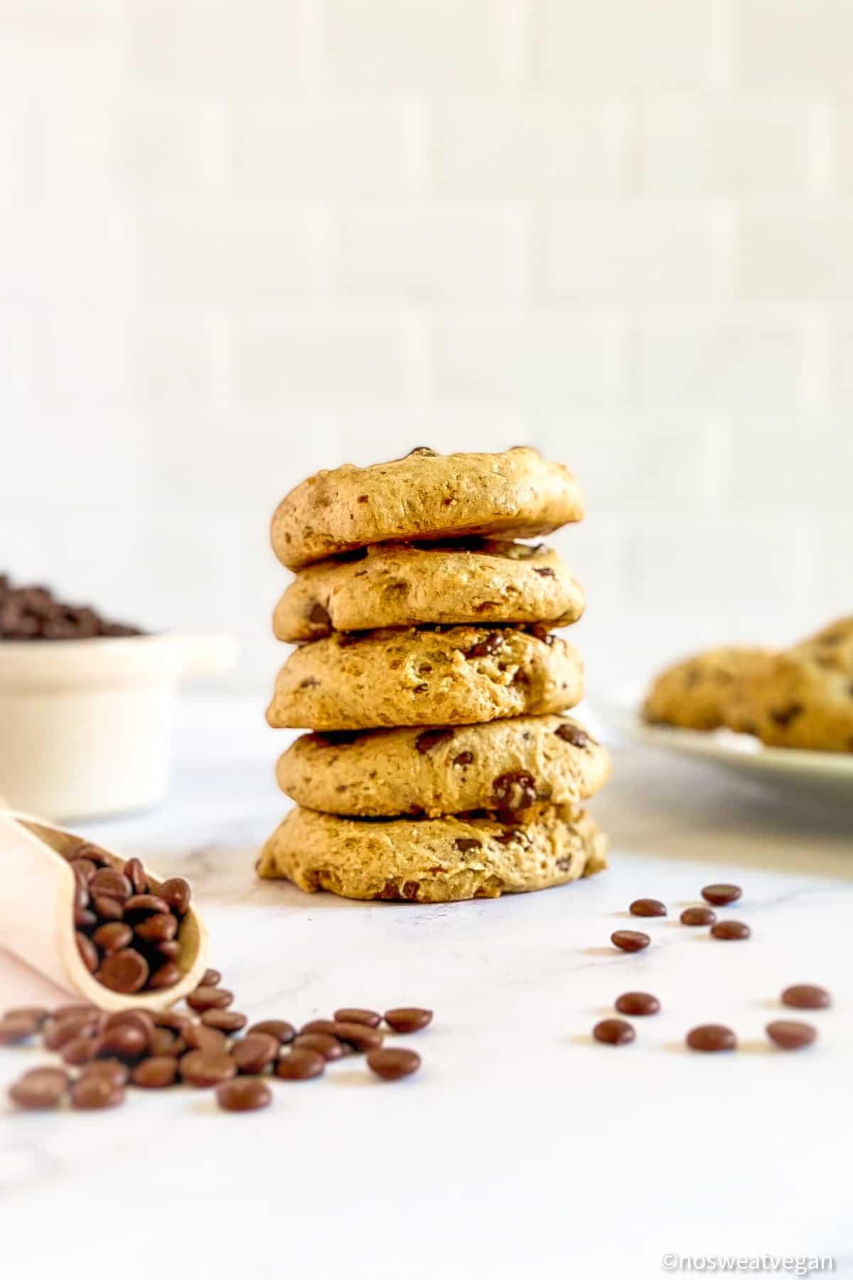 Vegan Chocolate Chip Cookies stacked.